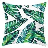 KnBoB Funda de Almohada Blanco Verde 45 x 45 cm Hoja de Banana Poliéster Estilo 8