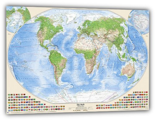 J.Bauer Karten Satellitenbild-Weltkarte, 150x100 cm, deutsch