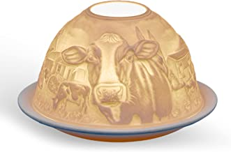 Light-Glow Cows Candle Holder, Porcelain, White, 13 x 12 x 8 cm