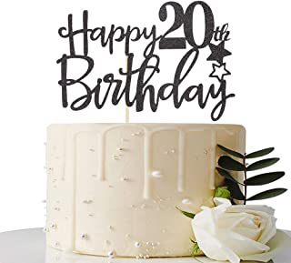 MaiCaiffe Black Happy 20th Birthday Cake Topper,Hello 20, Cheers to 20 Years, 20 & Fabulous Party Decoration