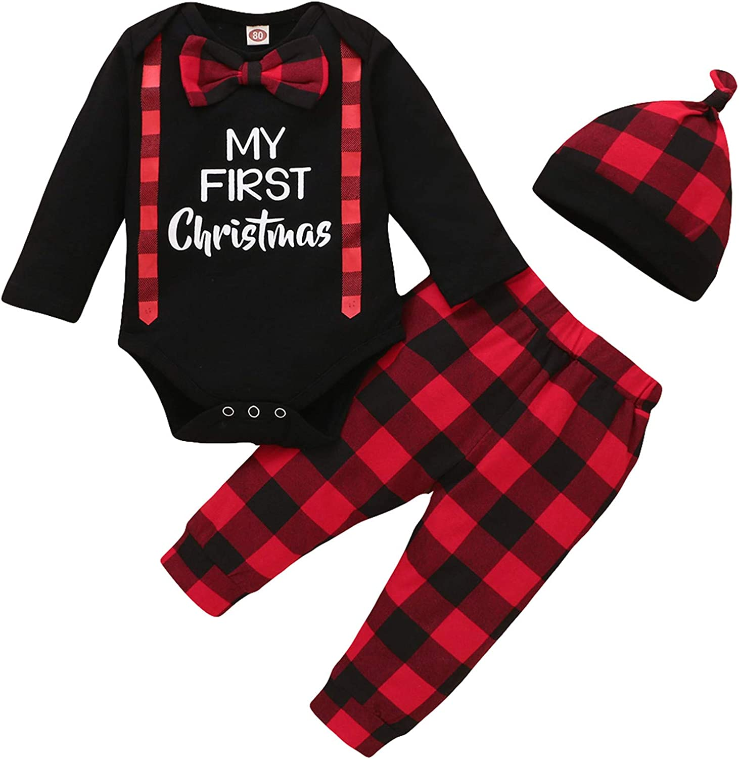 My First Christmas Baby Boy Girl Clothes Bowtie Long Sleeve Romper+Plaid Pants+Hat 3Pcs Xmas Outfits