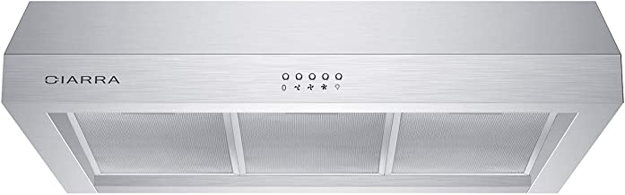 CIARRA CAS75908A Under-Cabinet Range Hood 30 inch 450 CFM with Ducted/Ductless Convertible, Stainless Steel Kitchen Stove Vent with 3 Speed Exhaust Fan, Dishwasher-Safe Permanent Filter, Push Button