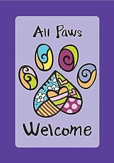 Toland Home Garden All Paws Welcome 12.5 x 18 Inch Decorative Heart Puppy Dog Kitty Cat Pet Garden Flag - 119513, Purple/Black/Blue/Green