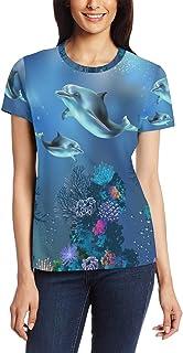 XiangHeFu T Shirt voor Vrouwen Meisjes Dolfijn Ocean Fisg Aangepaste Korte mouw
