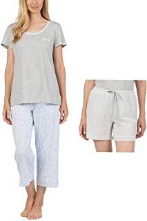 Women's 3 Piece Pajama Set - Top, Short, and Capri Pant
