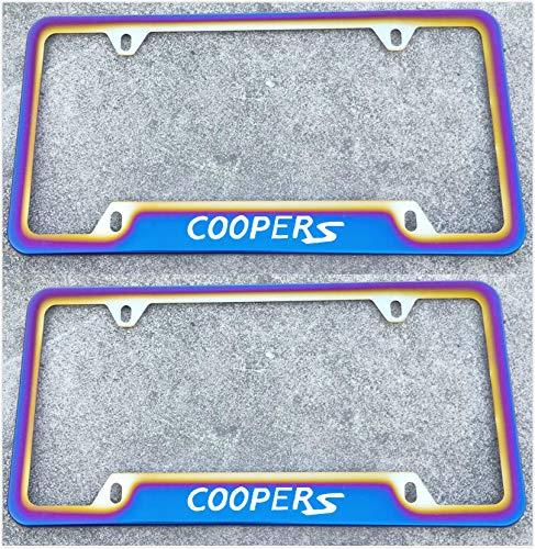 Estodian Blue Burnt Rainbow Chameleon Colorful Coopers Car License Plate Tag Holder Frame for Mini 304 Stainless Steel (2)