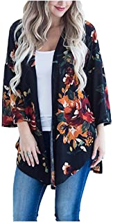 Howely Womens Plus-Size Baggy Open Front Blouse Floral Tribal Kimono Cardigan