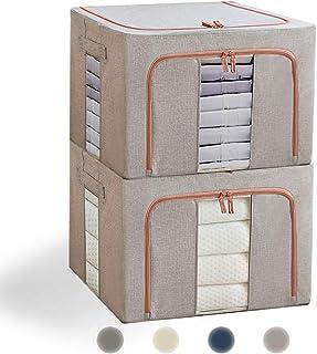 収納ケース 衣類,Eascity 22L 無臭綿麻 (39×29×20cm)内側撥水加工 防塵 収納ボックス 衣類 折りたたみ 取っ手付き 透明窓付き大容量 布団 洋服 収納,便利両開き 2個組 (薄灰)
