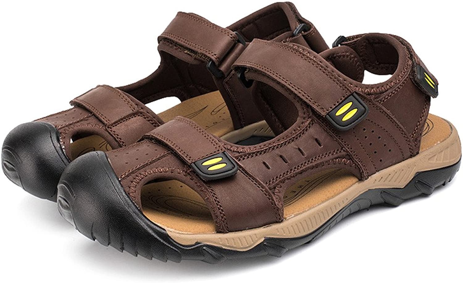 SOGXBUO XW Costume Mens Leather Sandals Athletic Outdoor shoes Summer Beach Mules Velcro Sports Sandals