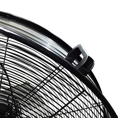 ZDM60CM Ventilatore Industriale da Terra Zephir Professionale con Ruote Struttura Interamente in Metallo Superpotente Pala 60 cm Gabbia 3 velocità selezionabili Motore da 180W, Nero