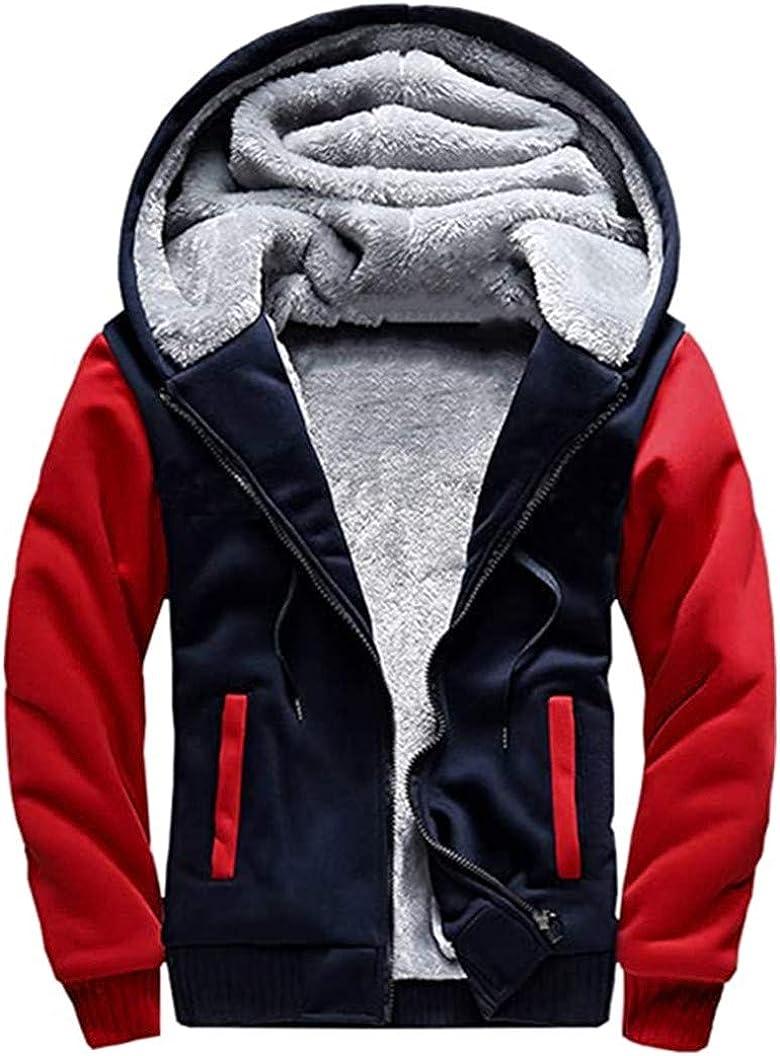QINYI Mens Hoodie Fleece Coats, Winter Workout Jackets Full Zip Wool Pullover Warm Thick Outwear