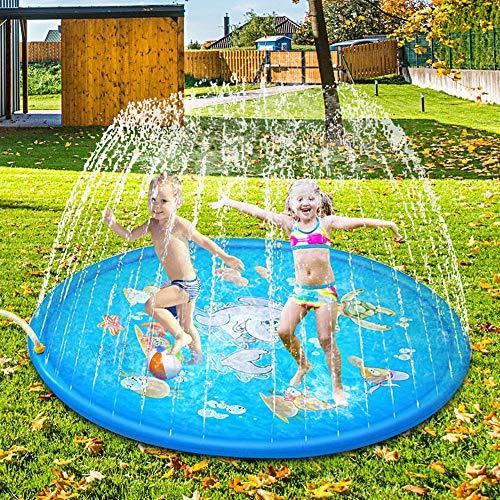 Sooair 170CM Splash Pad, Sprinkler Wasser-Spielmatte Splash Play Matte, Outdoor Sommer Garten Wasserspielzeug für Baby, Kinder (Blau)