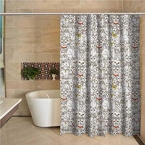 Kitten Fabric Shower Curtain Water-Repellent Printed Fabric 66x72 inch Bunch of Cats Sweet Family Animals Best Company Doodle Style Kitties Baby Cartoon Multicolor