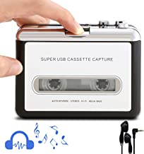 Retround Cassette Player Portable Walkman Cassette Tape Player Tape Converter to MP3/WAV/CD via USB, with Earphones Compatible with Laptops and PC
