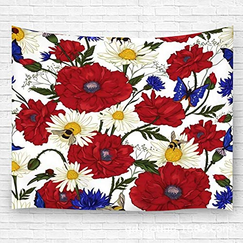 Tapestry Wall Art Summer Vintage Floral with Blooming Red Poppies Chamomile Ladybird and Daisies Corn Decor Beach Towel Blanket Carpet 59.1'(H) X90.5(W) 60x51in(130x150cm)