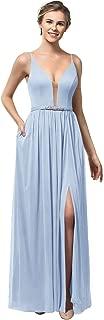 Zhongde Women's V-Neck Open Back Slit Chiffon Bridesmaid Dress with Pockets Long Evening Dress