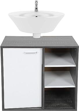Greensen Meuble de Rangement pour Salle de Bain avec découpe Siphon,Meuble sous lavabo de Salle de Bain, Armoire de Rangement