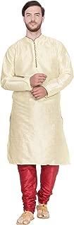 Men's Tunic Art Silk Kurta Pajama Set Indian Wedding Dress