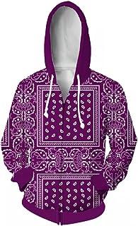 Sponsored Ad - Blue Bandana Hoodies for mens red Cashew Flower clothing Pullover black Jacket Hip Hop purple womens Zipper...