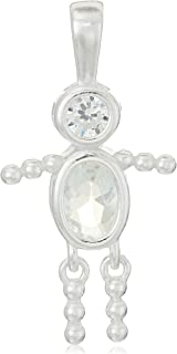 Sterling Silver, AAA Cubic Zirconia and Simulated Birthstone Babies Charm