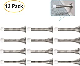 Pack of 12 Door Stoppers, 3.3 Inches Steel Spring, Heavy Duty and Rust-Proof, with Child-Safe Rubber Bumper Tip, Includes Screws and Base Plates, Prevent Doors from Slamming on Walls or Injury