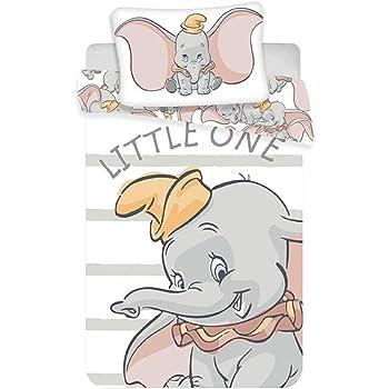 Dumbo dise/ño de Circo a Rayas Juego de Funda de edred/ón y Funda de Almohada para ni/ños Color Azul