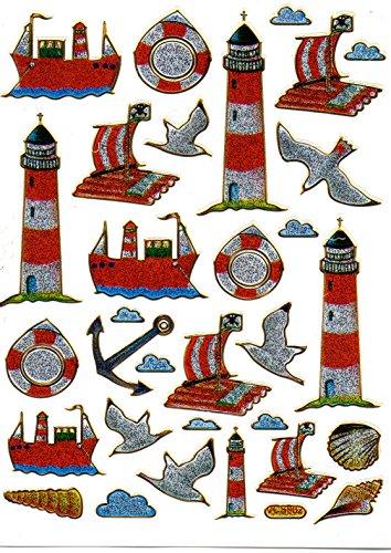 Leuchtturm Floß Anker Schiff bunt Aufkleber 32-teilig 1 Blatt 135 mm x 100 mm Sticker Basteln Kinder Party Metallic-Look