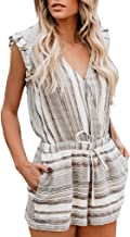 Big Sale!! Women's Jumpsuits Casual Lace Patchwork V-Neck Short Sleeve Romper with Pockets Playsuits Jumpsuits