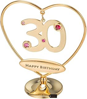 Matashi 24K Gold Plated Beautiful Heart Happy Birthday or Happy Anniversary Table Top Ornament Made with Genuine Crystals (30th Happy Birthday, Gold Plated)