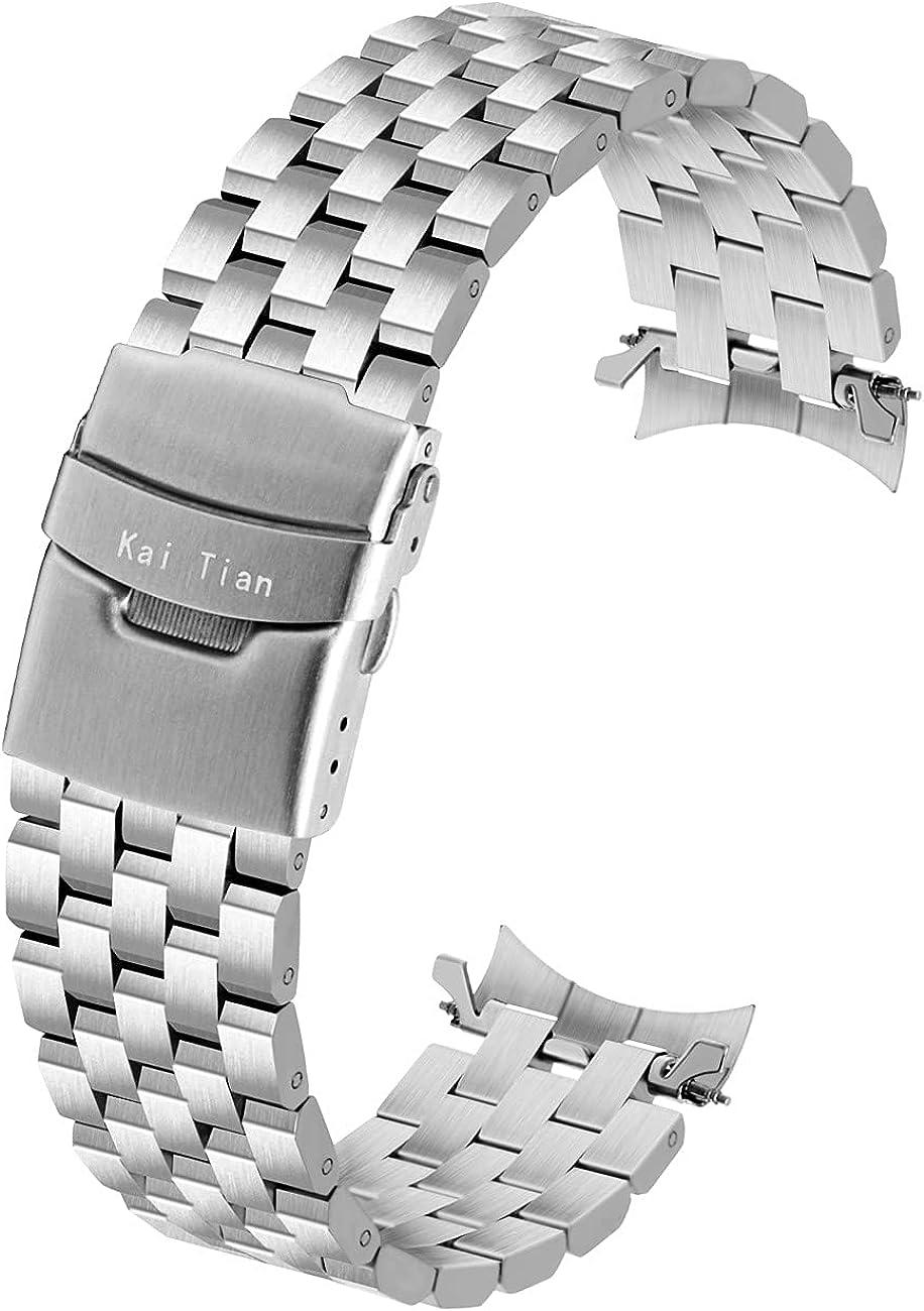 Kai Tian 5 líneas de acero inoxidable para reloj de pulsera, extremos curvados, 20mm, 22mm, para hombres y mujeres, hebilla doble, color negro y plateado