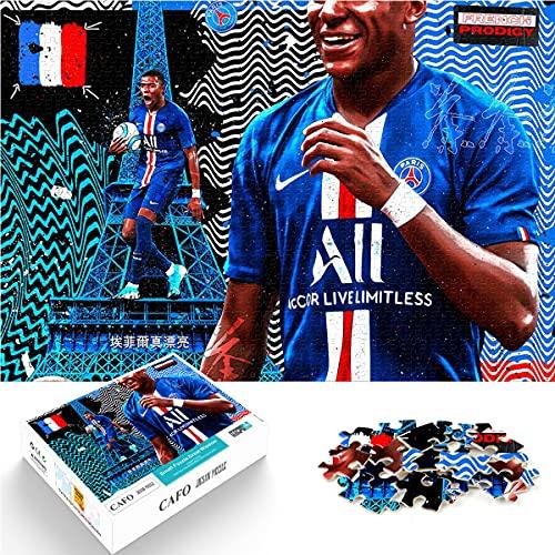 Rompecabezas de desafío 1000 Piezas Kylian Mbappe Jugador de fútbol Profesional francés No. 7 Rompecabezas de Papel 26x38cm Juego Familiar Rompecabezas de desafío Cerebral