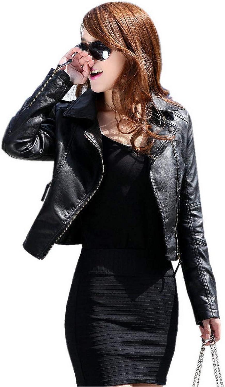 GetUBack Vintage Women's Slim Biker Motorcycle PU Leather Zipper Jacket Punk Rock