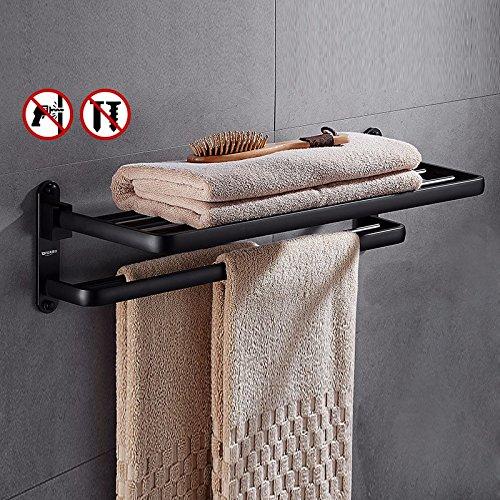 ZXC Bathroom racks accessoires voor de badkamer, 60 cm, geen optie om te boren, van aluminium, douchestang, zwart Lo Stile 1