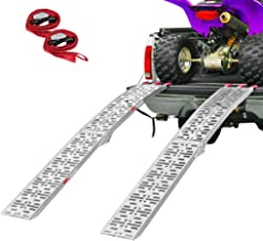 Clevr 7.5' Pair of Folding Arched Aluminum Ramps for ATVs, UTVs, Motorcycles, Dirt Bikes, 4 Wheelers, Lawnmowers Truck, 90