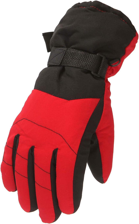 Mingyun Kids Winter Snow Ski Gloves Children Snowboard Waterproof Gloves for Boys Girls Cold Weather Bike Gloves (9-14 Years,6 - Red)