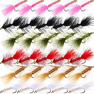 30 Pieces Fly Fishing Flies Streamer Fly Assortment Handmade Woolly Fly Fishing Lures for Trout Fishing