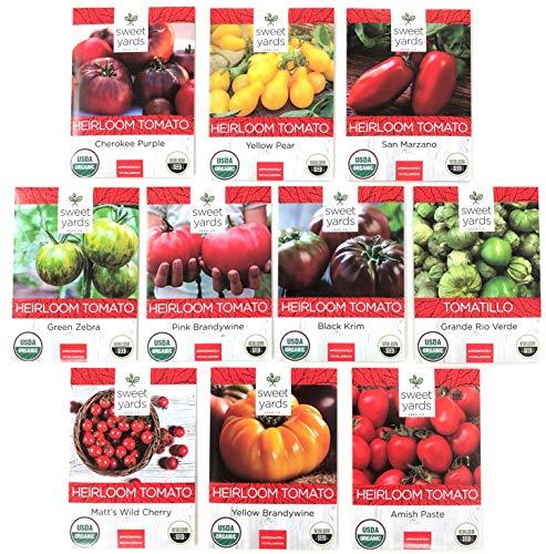 Heirloom Tomato Seeds Assortment - Ten Organic and Non-GMO Varieties: Brandywine, Cherokee Purple, Black Krim, Green Zebra, Amish Paste, Yellow Brandywine, Matts Wild Cherry, Yellow Pear, San Marzano