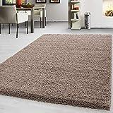 Teppich Hochflor Shaggy Teppich Unicolor einfarbig Teppich farbecht Pflegeleicht, Maße:240 cm x 340 cm, Farbe:Beige