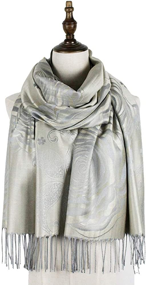 Wasab pashmina jacquard scarf Los supreme Angeles Mall rayon l long fringe fashion floral