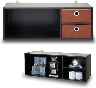 Furinno Wall-mounted Storage Shelf with 2 Bin Drawers, Espresso/Brown