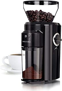 Secura Automatic Electric Conical Burr Coffee Grinder, Adjustable Cup Size, 18 Fine Coarse Grind Size Settings