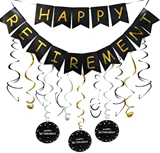 Happy Retirement Banner and Happy Retirement Hanging Swirls for Retirement Party Decorations Black Gold Retirement Party Supplies