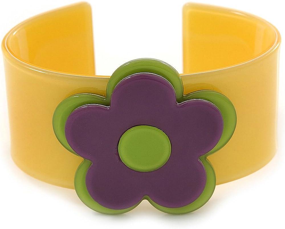 Avalaya Yellow, Purple, Light Green 'Modern Flower' Acrylic Cuff Bracelet - 19cm L