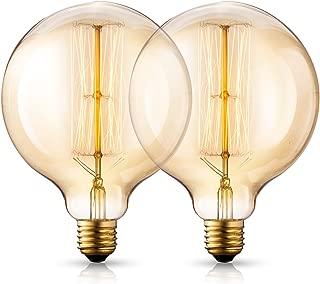 Asgens Vintage Incandescent Edison Light Bulbs 40 Watt, 2200K Warm White Lightbulbs - E26 Base - Globe Amber Clear Glass - 210 Lumens,Dimmable Antique Filament G40/G125 Light Bulb Set - 2 Pack
