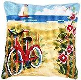 Vervaco Kreuzstichkissen Fahrrad Am Strand, Stickbild vorgezeichnet Kit de punto de cruz para cojín, predefinido, algodón, multicolor, 40.0 x 40.0 x 0,3 cm