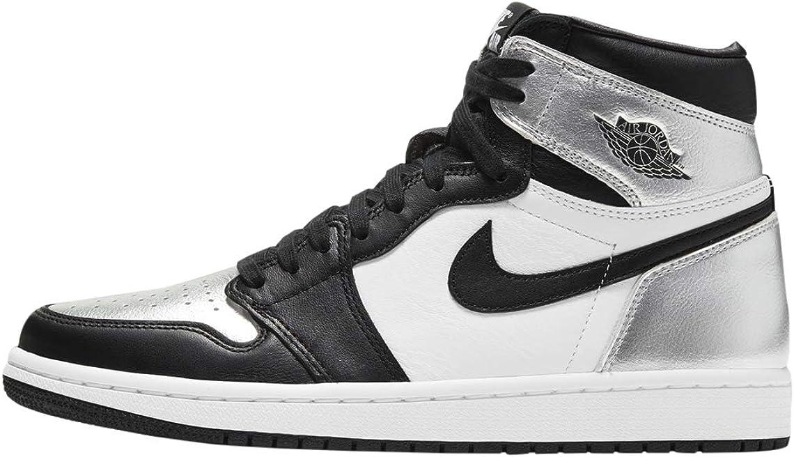 Jordan Women's Finally popular brand 1 Max 64% OFF High OG Black Black-Metallic Silver Toe