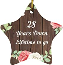 28th Anniversary 28 Years Down Lifetime to Go - Star Wood Ornament A Christmas Tree Hanging Decor - for Wife Husband Wo-Me...