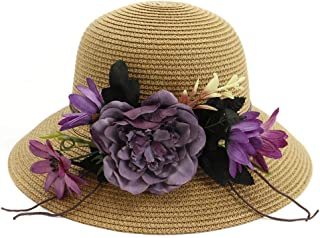 Songlin @ yuan Summer Handmade Crochet Flower Hat UV Protection Women Sun Hat Beach Hat Girl Sweet Holiday Jewelry Size:56-58CM (Color : Coffee, Size : 56-58CM)