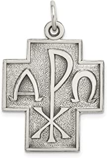 Sterling Silver Themed Jewelry Pendants & Charms Solid 22 mm 29 mm Antiqued Alpha Omega Cross Pendant