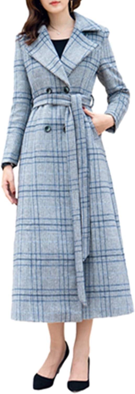 PENER Winter Women's Warm Light bluee Plaid Long Woolen Coat